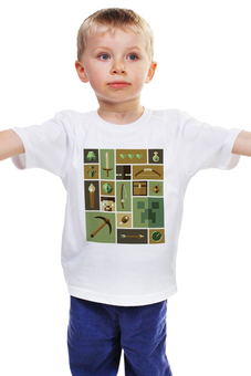 "Детская футболка ""Minecraft Explorer"" - minecraft, майнкрафт, creeper, крипер, кубы"