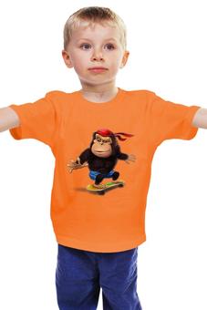 """Детская футболка классическая унисекс """"Обезьяна Скейтборд"""" - обезьяна, символ нового года"""