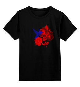 "Детская футболка классическая унисекс ""Детская Футболка Колибри и Лилии"" - футболка, классика, подарок, стильно, колибри"
