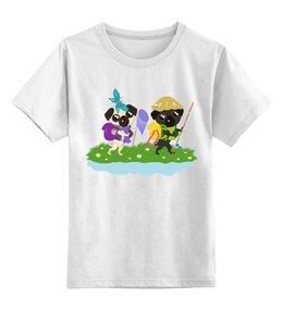 """Детская футболка классическая унисекс """"Мопсы идут в поход."""" - лето, юмор, поход, природа, мопс"""