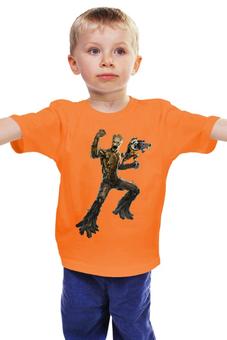 """Детская футболка классическая унисекс """"Rocket Raccoon and Groot/Реактивный Енот и Грут"""" - marvel, ракета, racoon, стражи галактики, грут"""