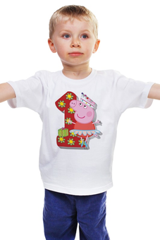 """Детская футболка """"Пеппа"""" - день рождение, свинка пеппа, пепа, один годик"""