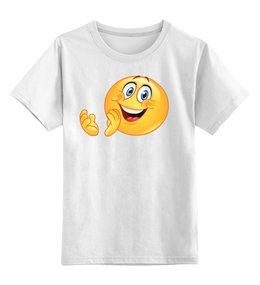 """Детская футболка классическая унисекс """"КОЛОБОК УЛЫБАЮЩИЙСЯ. СМЕХ РАДОСТЬ. SMILE"""" - смех, smile, радость, улыбка, колобок"""