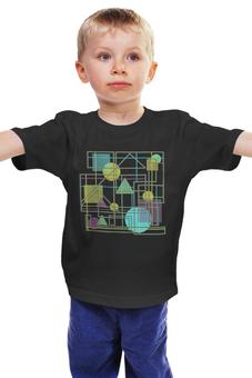 """Детская футболка классическая унисекс """"Геометрический узор"""" - круг, креатив, треугольник, квадрат, фигуры, круги, геометрия, линии, геометрические фигуры, схема"""