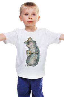 """Детская футболка классическая унисекс """"Ёжик музыкант"""" - арт, мультфильм, рисунок, ёжик, детский"""