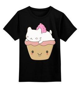 """Детская футболка классическая унисекс """"Котик - мороженое"""" - кот, кошка, котик, мороженое"""