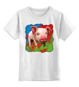 """Детская футболка классическая унисекс """"Симпатичный свин"""" - новый год, свинка, хрюшка, 2019, поросёнок"""