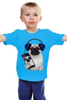 """Детская футболка классическая унисекс """"Собака мопс"""" - музыка, собака, мопс, меломан, смартфон"""