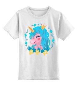 """Детская футболка классическая унисекс """"Милый мультяшный очаровательный единорог принцесса"""" - лошадь, красивый, сказка, иллюстрация, мульт"""