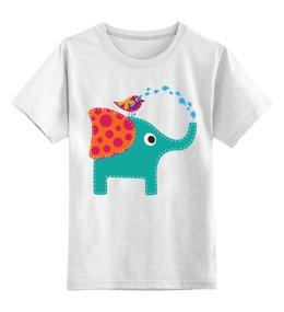 """Детская футболка классическая унисекс """"Дружба"""" - слон, птичка, детский рисунок, мультфильм, животные"""