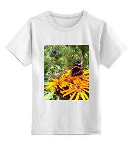 """Детская футболка классическая унисекс """"детская одежда"""" - бабочки, цветы, сад, природа"""