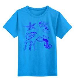 """Детская футболка классическая унисекс """"Морские обитатели"""" - море, рыбки, океан, медузы"""