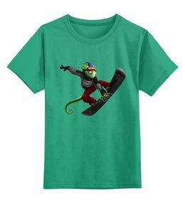 """Детская футболка классическая унисекс """"Ящерица - сноубордист"""" - спорт"""