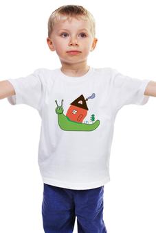"""Детская футболка """"улитка"""" - дом, улыбка, зеленый, природа, улитка"""