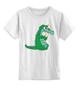 """Детская футболка классическая унисекс """"крокодил"""" - арт, персонаж, лето, животные, крокодил, дети, зеленый, каникулы, детский принт"""