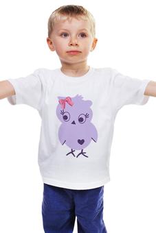 """Детская футболка """"Фиолетовая птичка"""" - бант, бантик, птичка, мило, длядевочки"""