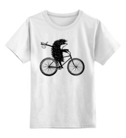 """Детская футболка классическая унисекс """"Ежик на велосипеде 2"""" - ежик, ежик в тумане, мульт, велосипед"""