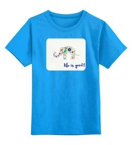 """Детская футболка классическая унисекс """"Слоник"""" - цветы, счастье, ярко, слоник"""