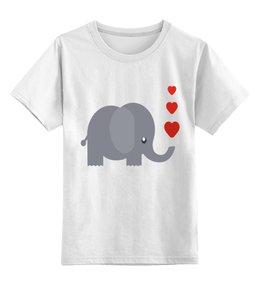 """Детская футболка классическая унисекс """"Слоник"""" - милый, слон, сердечки, слоник, милый слоник"""