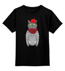 """Детская футболка классическая унисекс """"Кот Хипстер"""" - кот, арт, style, прикольные, очки, cat, хипстер, swag, hipster, shades"""