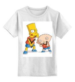 "Детская футболка классическая унисекс ""Bart Stewie"" - юмор, сериалы, мульт, stewie, bart"