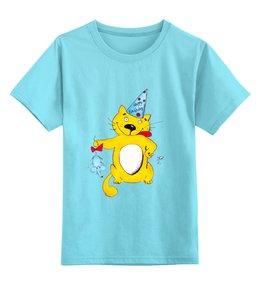 """Детская футболка классическая унисекс """"С Днем рождения!"""" - праздник, кот, бант, подарок, именины, ребенок, котики, деньрождения, колпак, мышонок"""