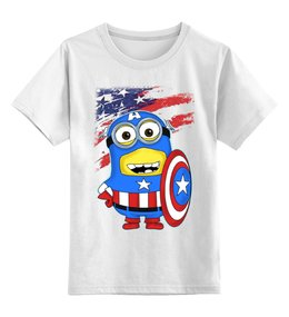 """Детская футболка классическая унисекс """"CAPTAIN AMERICA - Капитан Америка"""" - арт, авторские майки, футболка, стиль, рисунок, в подарок, marvel, детская футболка, superhero, капитан америка"""