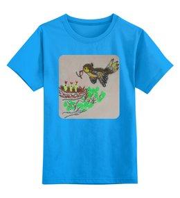 """Детская футболка классическая унисекс """"Птичка"""" - птичка, птенчики"""