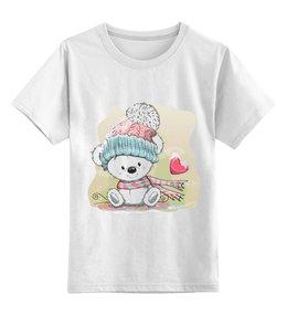 """Детская футболка классическая унисекс """"Медвежонок"""" - юмор, зима, рисунок, мультяшка, медвежонок"""