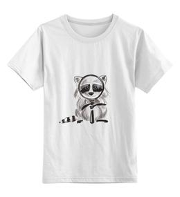 """Детская футболка классическая унисекс """"Енот следит за тобой!"""" - рисунок, мультяшка, енот, енотик"""