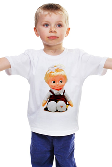 "Детская футболка ""кукла-ДЕВОЧКА МАША ИЗ МУЛЬТА. СМЕШНАЯ ОЗОРНАЯ. "" - кукла, девочка, мульт, маша"
