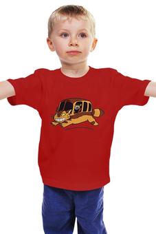 """Детская футболка классическая унисекс """"Автобус для кошек"""" - кошка -автобус"""