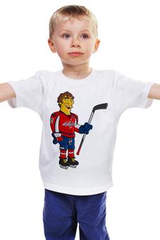 """Детская футболка """"Овечкин (Симпсоны)"""" - simpsons, хоккей, ice, hockey, хоккеист, овечкин, вашингтон кэпиталз, пародия на симпсонов, ovechkin"""