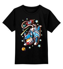 """Детская футболка классическая унисекс """"Собака - космонавт"""" - собака, космос, космонавт, звёзды"""