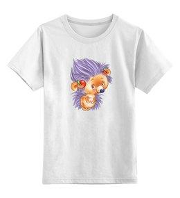 """Детская футболка классическая унисекс """"СМЕШНОЙ ЁЖИК С ЯБЛОЧКАМИ. """" - ёжик, мульт, иголки, яблочки"""