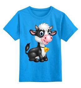 """Детская футболка классическая унисекс """"Бычок с колокольчиком"""" - добрый, детский, любимый, коровка, теплый"""