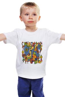 """Детская футболка классическая унисекс """"Роботы в стиле дудл"""" - робот, роботы, дудл, doodle, прикольные роботы"""