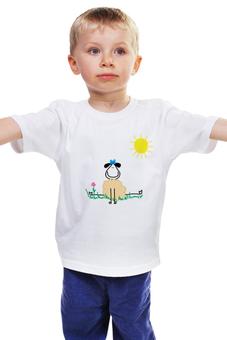 """Детская футболка классическая унисекс """"овечка"""" - животные, солнце, рисунок, овца, овечка"""