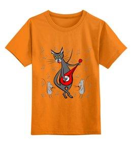 """Детская футболка классическая унисекс """"Кот с гитарой - мышь в танце"""" - кошка, гитара, играет"""