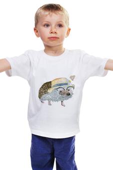 """Детская футболка классическая унисекс """"ежик в шляпе"""" - бабочки, лето, ежик, еж"""