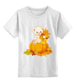 """Детская футболка классическая унисекс """"Мишка"""" - хэллоуин, тыква, медведь, осень, листья"""