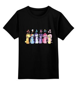 "Детская футболка классическая унисекс ""My Little Pony Characters"" - rainbow dash, my little pony, applejack, friendship is magic, fluttershy"