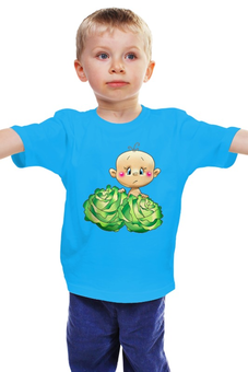 """Детская футболка классическая унисекс """"Ребёнок в капусте """" - капуста, новорождённый"""