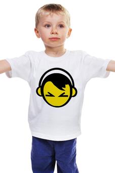 """Детская футболка """"Смайл в наушниках """" - dj, music, smile, диджей"""