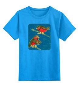 """Детская футболка классическая унисекс """"Снегири"""" - зима, птицы, снег, снегири"""
