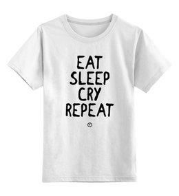 """Детская футболка классическая унисекс """"Eat cry repeat by Brainy"""" - детская, cry, eat, brainy, brainystore"""