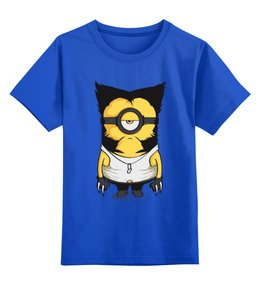 """Детская футболка классическая унисекс """"Миньон  Росомаха"""" - гадкий я, комиксы, люди икс, миньоны, росомаха"""