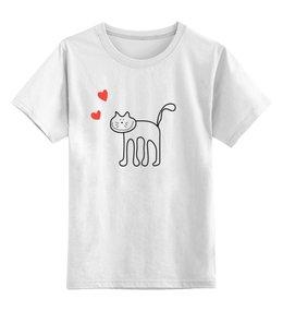 """Детская футболка классическая унисекс """"котик"""" - сердце, любовь, кот, улыбка, котик"""