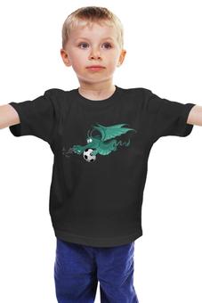 """Детская футболка """"Дракончик футболист """" - для мальчика, футбольный мяч"""