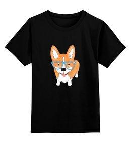 """Детская футболка классическая унисекс """"Корги в очках"""" - собаки, корги, милый корги"""